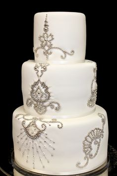 jeweled wedding cake -interesting idea by Carrie's Cakes