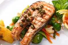 Salmon Steaks and Roasted Vegetables cindys table, cindy anschutz, entertaining