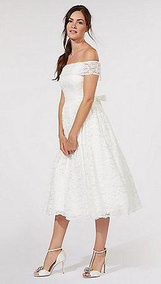 Debut - Ivory lace 'Eternity' bardot neck wedding dress