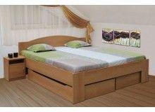Manželská postel s úložným prostorem KLÁRA 180x200, buk