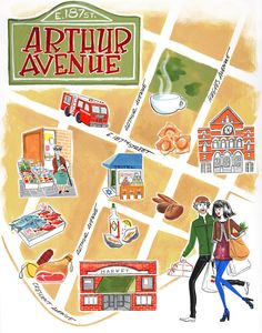 Arthur Avenue, Little Italy Map - New York by Marilena Perilli