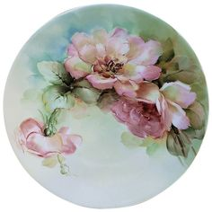 Ravishing Bavaria Vintage Hand Painted Peach Roses Floral Plate Exceptionally and expertly decorated is this vintage unmarked Bavaria, circa early hand painted Floral Plate. Hand Painted Dishes, Red And Pink Roses, Antique Plates, China Painting, Floral, Painted Porcelain, China Plates, Vintage China, Ruby Lane