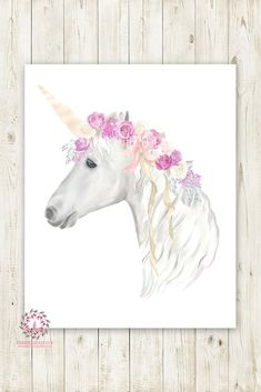 Boho Purple Unicorn Wall Art Print Baby Girl Nursery Lace Roses Fantasy Watercolor Room Printable Decor
