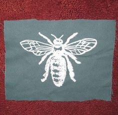 Honey Bee Patch -  White Ink on Green Fabric - Silkscreen Screenprint Drawing Image of Insect Bug Critter