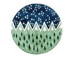 This is an original watercolor illustration painting inspired by mountains at starry nights. TITLE: Round Paintings 243 -This is a hand painted art piece, not a print. -Paper size 6 x 8 inches (15,2 x 20,3 cm ) -Painting size : 4,5 inches as diameter (11,5 cm as diameter ) -Paper is 300 gsm (140 lb ) , acid free ,100% cotton , smooth , hot pressed watercolor paper. -Paints are lightfast , artists quality watercolors and acrylic ink . -The painting will be sent signed and dated in pencil…