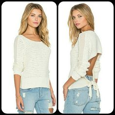 Free People Bow Back Pullover in Ivory Free People open lower back pullover with self-tie bow in Ivory. Body: 100% cotton ; Trim: 58% cotton, 42% nylon Free People Sweaters