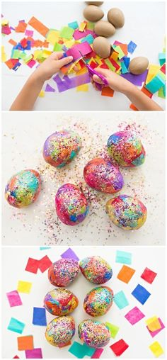 Sparkly DIY Glitter Tissue Paper Easter Eggs. Fun Easter egg craft for kids to make!