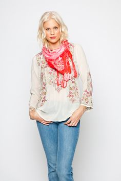 27cac0fcc3a2 The Johnny Was FABIO BLOUSE embodies gypset style! This boho blouse  features a stunning embroidery design that combines floral and geometric  elements ...