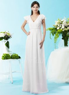 Bridesmaid Dresses - $98.26 - A-Line/Princess V-neck Floor-Length Chiffon Bridesmaid Dress With Ruffle Beading (0075058326)