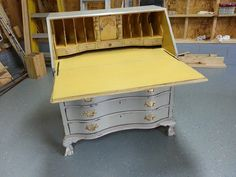 Inside the desk painted with Annie Sloan chalk paint (Arles).