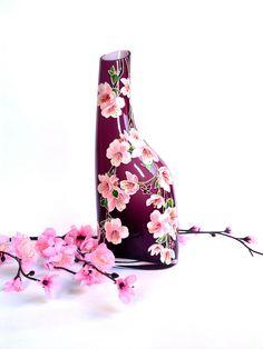 Sakura Vase Glass vase Hand painted Hand painted vase Hand painted glass Painted vase Painted glass Home decor Wedding gift Gift for mom by PaintedglassbySveti on Etsy https://www.etsy.com/listing/263145290/sakura-vase-glass-vase-hand-painted-hand