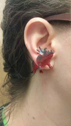 Styracosaurus  Dinosaur Earrings  Faux Gauge  by GlitzyDino