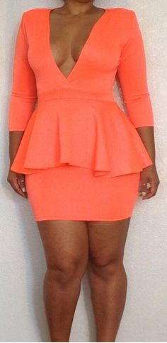 Plus Size Orange Peplum Bodycon Dress