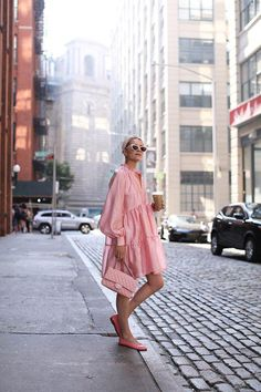Pink Sundress by Atlantic Pacific, pink Pink Outfits, Chic Outfits, Pink Fashion, Fashion Dresses, Fashion Women, Runway Fashion, Look Rose, Pink Sundress, Look Street Style