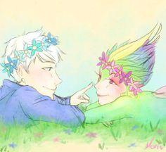Jack and Tooth in spring. Credits: http://morisaurus.deviantart.com/art/ROTG-At-the-Beginning-433655807