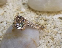 Unique engagement ring Rose Gold Morganite by SeaofLoveee on Etsy