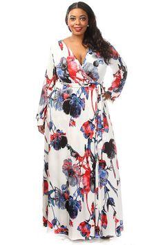 Plus Size Floral Print Wrap Maxi Dress
