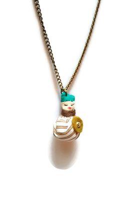 Steampunk stripey creature pendant - fabric pendant - tiny creature - cute necklace - quirky pendant - cute pendant -creature charm - OOAK