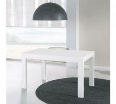 Table de repas à allonges blanche - tova - l 130 / 180 x l 85 x h 76 - neuf