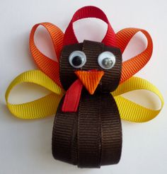 Turkey Hairclip Ribbon Sculpture by TakeABowHandcrafts on Etsy