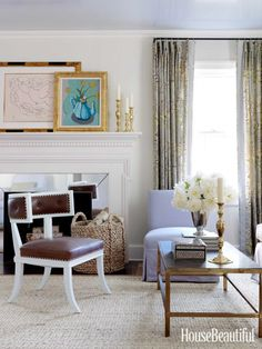 Muted pastels in a living room. Design: Kevin Isbell. housebeautiful.com. #pastels #living_room