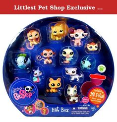 Littlest Pet Shop Exclusive Collectible 12 Pack Bobble Head Pets Figure Set - Hat Box with Brown Beagle Puppy (#1664), White Bull Terrier Puppy (#1665), White Lilac Ferret (#1666), Green Gecko (#1667), Brown Guinea Pig (#1668), Orange Kitty Cat (#1669), Pink Baby Lamb (#1670), Brown Baby Monkey (#1671), White Blue Pelican (#1672), Caramel Persian Cat (#1673), Colorful (Pink,Green,Blue and Purple) Snail (#1674) and Blue Whale(#1675). Littlest PetShop Exclusive Collectible 12 Pack Bobble…