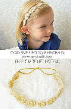 'Provence Gold Fleck Headband' – Crochet Headband Pattern Crochet Beautiful Headband - this headband is super easy and looks like it could have been bought at a boutique! Crochet Headband Pattern, Knitted Headband, Crochet Patterns, Crochet Headbands, Kids Headbands, Crochet Girls, Crochet For Kids, Crochet Baby, Thread Crochet