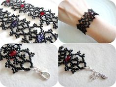 Gothic Lolita Cuff Bracelet, Victorian Lace Bracelet, Black and Red Seed Bead…personalized bracelets Ideas, Craft Ideas on personalized braceletsWanna cool ideas for personalized bracelets This personalized bracelets Ideas page gives you different inspi Lace Bracelet, Beaded Bracelet Patterns, Seed Bead Bracelets, Beading Patterns, Beaded Necklace, Bead Jewellery, Seed Bead Jewelry, Jewelry Crafts, Handmade Jewelry