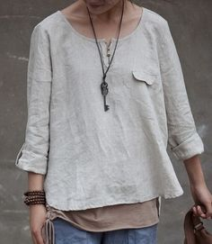 Round Collar Short Linen Tunic