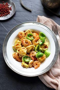 Ravioli de potiron, sauce au gorgonzola et cèpes sautés.