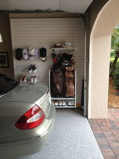 Garage Flooring for Existing Home - contemporary - garage and shed - other metro - Custom Closets & More. Home Gate Design, Shed Design, Dark Floor Bathroom, Crown Moulding Kitchen Cabinets, Traditional Kitchen Faucets, Contemporary Sheds, Kid Friendly Backyard, Stone Feature Wall, Pools For Small Yards