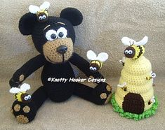 Bumble Bear & Queenie Bee-Hive - $4.50 by Knotty Hooker Designs
