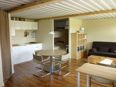 Tin Can Cabin shipping container home interior.