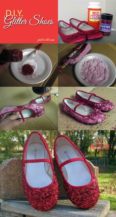What better to give yourself a little sparkle than with do it yourself glitter shoes. These diy shoes are very easy to make, and are perfect for Halloween. Fashion Tights, Diy Fashion, Fashion Shoes, Dorothy Shoes, Toddler Girl Halloween, Creative Shoes, Pretty Halloween, Glitter Shoes, Costumes
