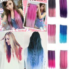 Amazon.com: Autofor Newfangled Fashionable Multicolor Gradually Varied One Piece Straight Synthetic Clip-on Hair Extension 60cm Length,Multiple Choice (Straight, Dark Pink): Beauty