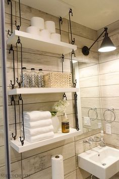 8 Mighty Clever Tips: Floating Shelves Tv Wall Ideas thin floating shelf.Black Floating Shelves Interior Design floating shelf decor under tv.Floating Shelves Over Toilet Light Fixtures. Toilet Shelves, Over Toilet Storage, Bathroom Shelves Over Toilet, Wood Shelves, Toilet Tiles, Rustic Bathroom Shelves, Ikea Shelves, Diy Casa, Small Bathroom Storage