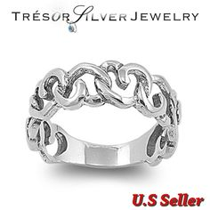 Sterling silver heart link chain womens band ring size 5 6 7 8 9 anniversary