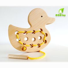Wooden Lacing Toy, Handmade Wood Duck, Wooden Toy natural organic, Montessori To… – Toys Ideas Handmade Wooden Toys, Wooden Diy, Toddler Toys, Baby Toys, Elliev Toys, Girl Toys, Tinker Toys, Madeira Natural, Montessori Toys