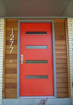 Modern Front Door - 4 Rectangular Windows | Home Remodel ...