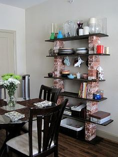 brick shelving DIY! Great shelves for industrial ish home decor! #shelves #Homedecor #paintedfurniture