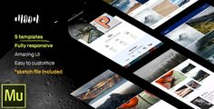 moon - 5 Modern and Responsive Muse Templates for Portfolio