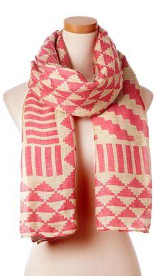 Coral geometric scarf