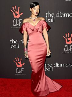 Rihanna Looks Elegant in Red Mermaid Gown, Diamond Necklace: Photos - Us Weekly