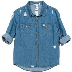 Sans Souci Distressed denim button down shirt ($34) ❤ liked on Polyvore featuring tops, shirts, jackets, denim, long sleeve tops, long sleeve shirts, blue shirt, long-sleeve shirt and torn shirt