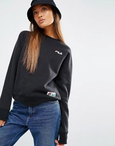 Image 1 ofFila Sweatshirt With Logo And Tape Detail Badge