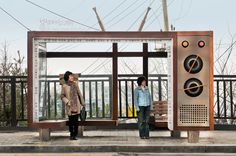Difference between the North and South Korea. Here a bus stop for Boseong Girl's Middle & High School in South Korea. Urban Furniture, Street Furniture, Bus Stop Design, Retro Bus, Sou Fujimoto, Bus Shelters, Shelter Design, Bus Station, Public Art