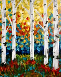 """""""Enchanted Forest"""" Painting class at Pinot's Palette South Canvas Painting Projects, Easy Canvas Painting, Easy Paintings, Painting & Drawing, Art Projects, Canvas Art, Canvas Ideas, Acrylic Paintings, Finger Painting Art"""