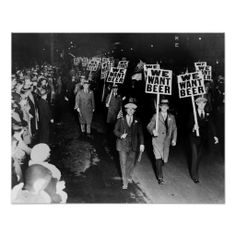 We Want Beer Signs Protest Against Prohibition Retro Vintage Black and White Photo Drinking Cool Wall Decor Art Print Poster