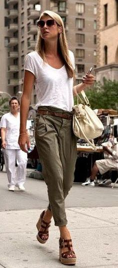 summer outfits White Tee + Khaki Pants