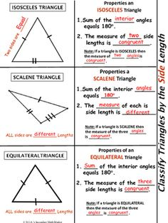 Classify Triangles by Angle Measure & Side. by NIA's Secondary Math Market Classifying Triangles, Triangle Worksheet, Teaching Class, Isosceles Triangle, Geometry Worksheets, Right Triangle, Secondary Math, Math Word Problems, Formulas